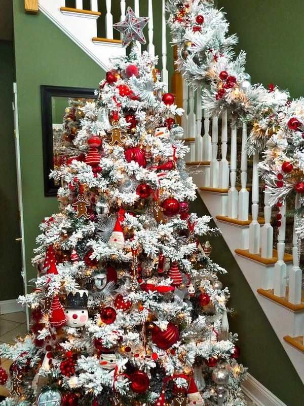 16+ Flocked tree with red ornaments ideas in 2021