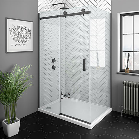Arezzo Matt Black 1000 X 800mm Frameless Sliding Door Shower Enclosure Victorian Plumbing Uk In 2020 Frameless Sliding Doors Shower Enclosure Black Shower Doors