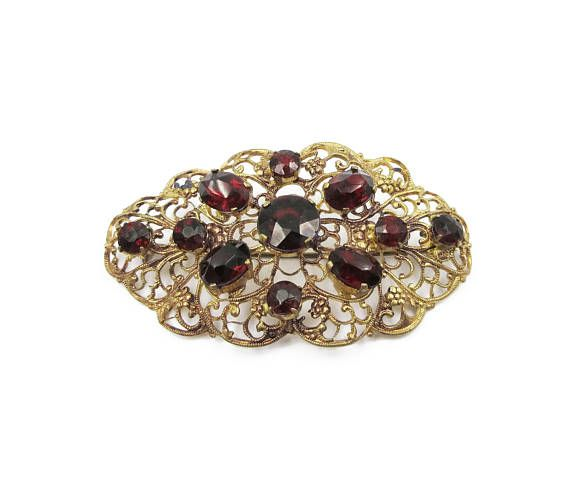 589433a73 Art Deco Czech Brooch Garnet Rhinestone Gold Tone Filigree   !