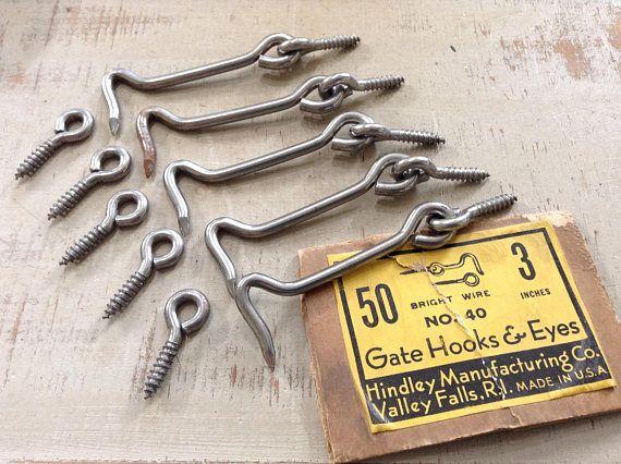 Vintage Gate Hooks And Eyes 3 Hook Eyes Screen Door Gate Hooks