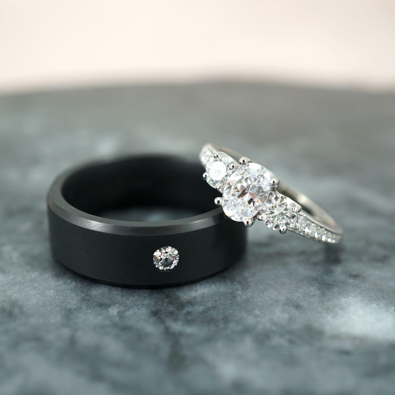Dark Sparkle 11 Black Wedding Rings Offbeat Bride Mens Wedding Rings Black Wedding Rings Rings For Men