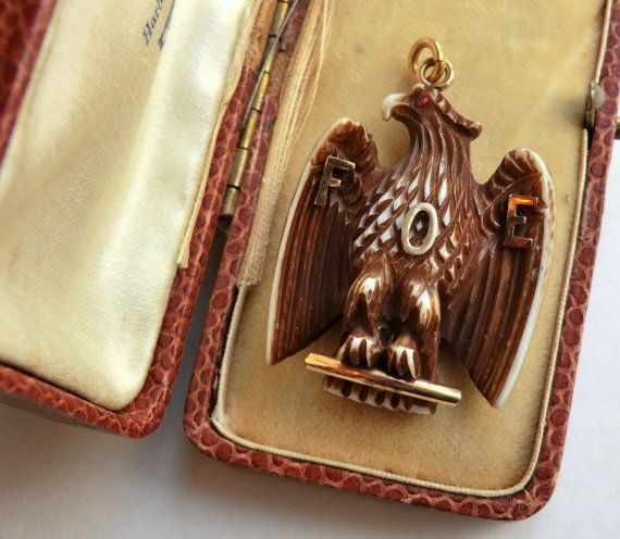 Antique Carved Eagle Watch Fob Pendant Fraternal Jewelry