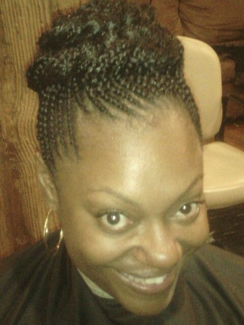 Cornrows braided up into a French braided bun | Styles by Fame! @ Everette's Natural Hair Salon ...