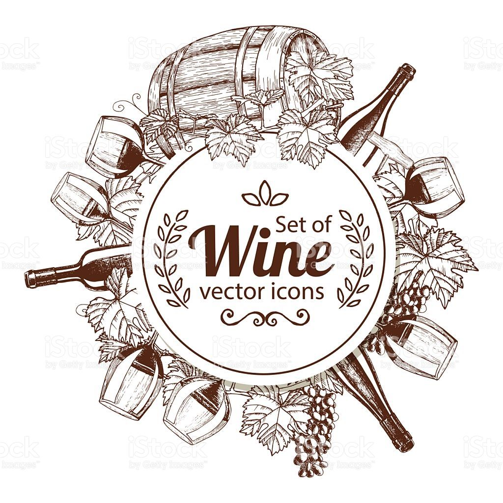 Circle shape template with sketch wine icons for packaging