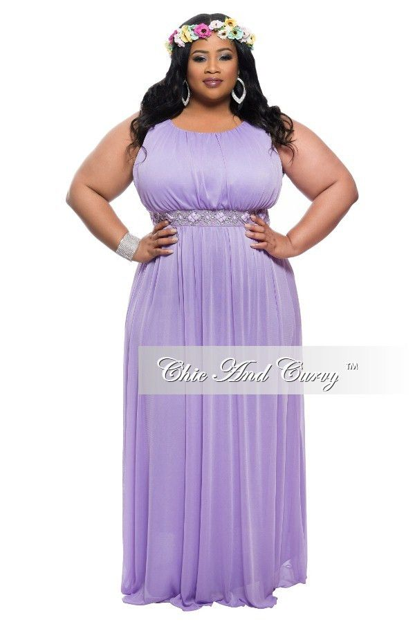 Final Sale Plus Size Sleeveless Long Dress with Jeweled ...