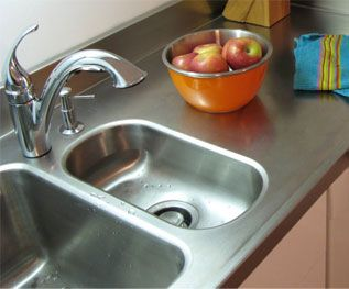 Integrated Stainless Steel Sink And Counter