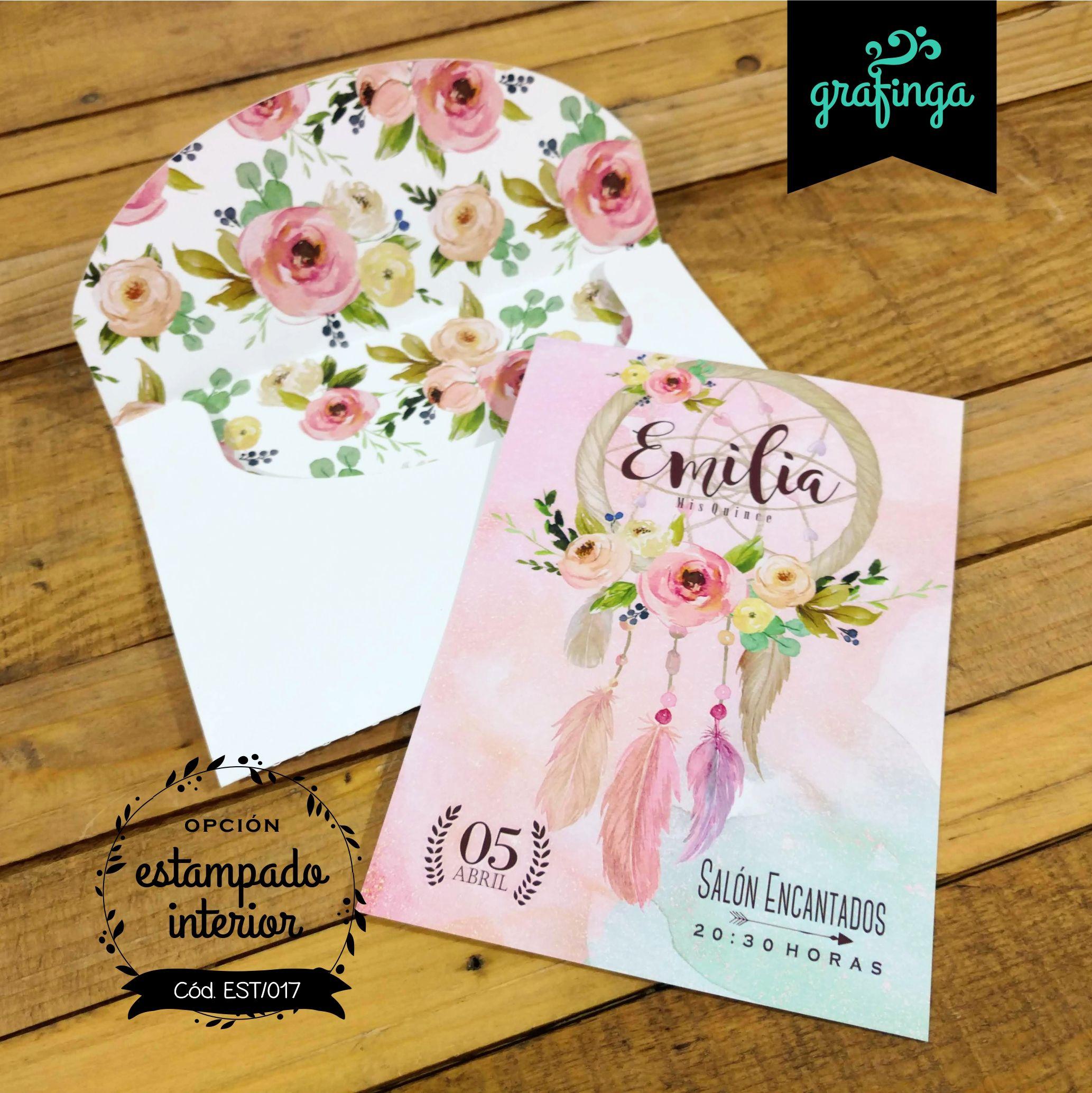 27f5d0a9188e0 Tarjetas invitaciones originales con sobres forrados para 15 Años  Casamientos Bodas! Estilo atrapasueños flores acuarela...  invitaciones   bodas  15años ...