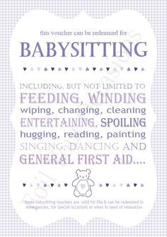 Image result for Funny Babysitting Coupons from ...