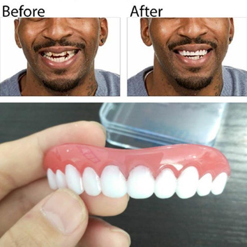 Professional Perfect Instant Smile Comfort Fit Flex False Dentures Teeth Top Cosmetic Dental Dental Silica Gel Upper Row Dental Cosmetics Ear Wax Removal Tool
