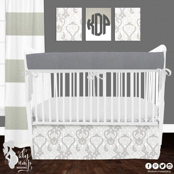 Gray Neutral Designer Created Crib Set - Gender Neutral Baby Bedding - Designer Created Crib Sets www.babybumpbedding.com