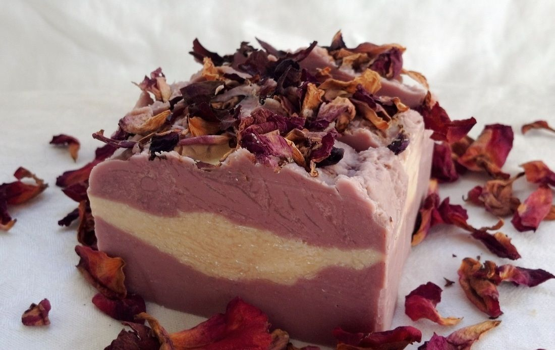 English roses goat milk soap with shea butter olive oil