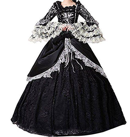 damen satin gothic viktorianisches kleid renaissance maxi. Black Bedroom Furniture Sets. Home Design Ideas