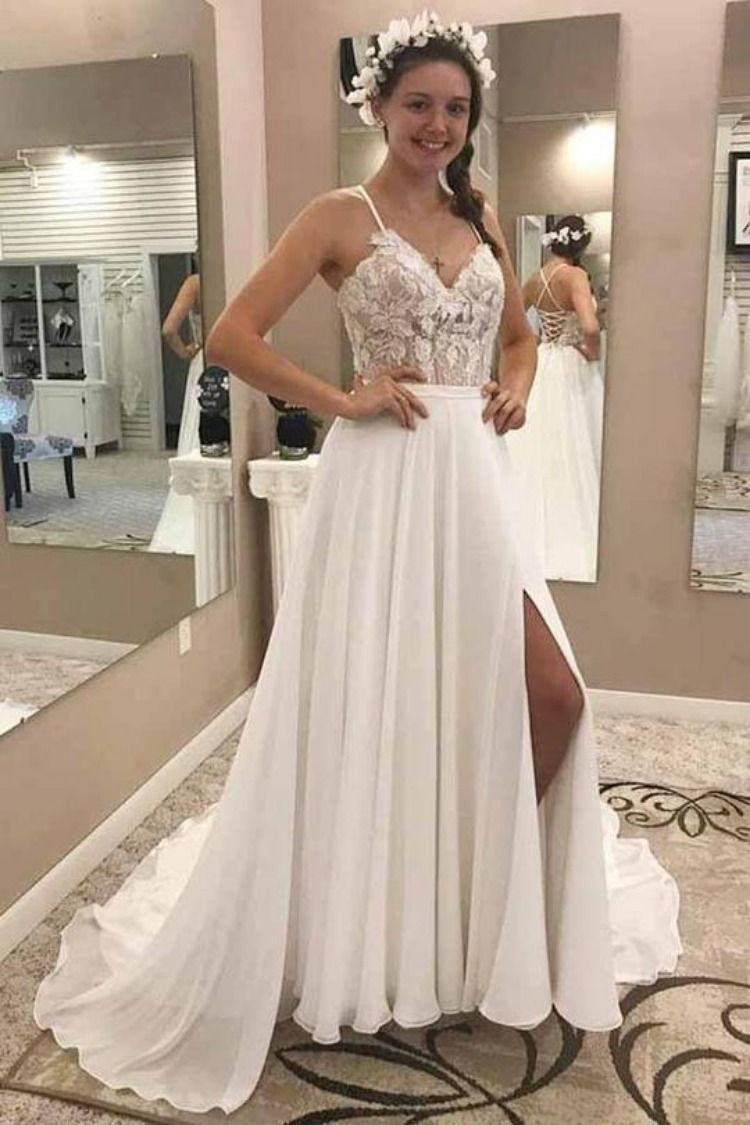 Elegant Spaghetti Straps V Neck Chiffon Appliques Split Side Wedding Dresses  W455  spghettistraps  vneck  chiffon  appliques  splitside  weddingdress 9ba8c5b3c4e3