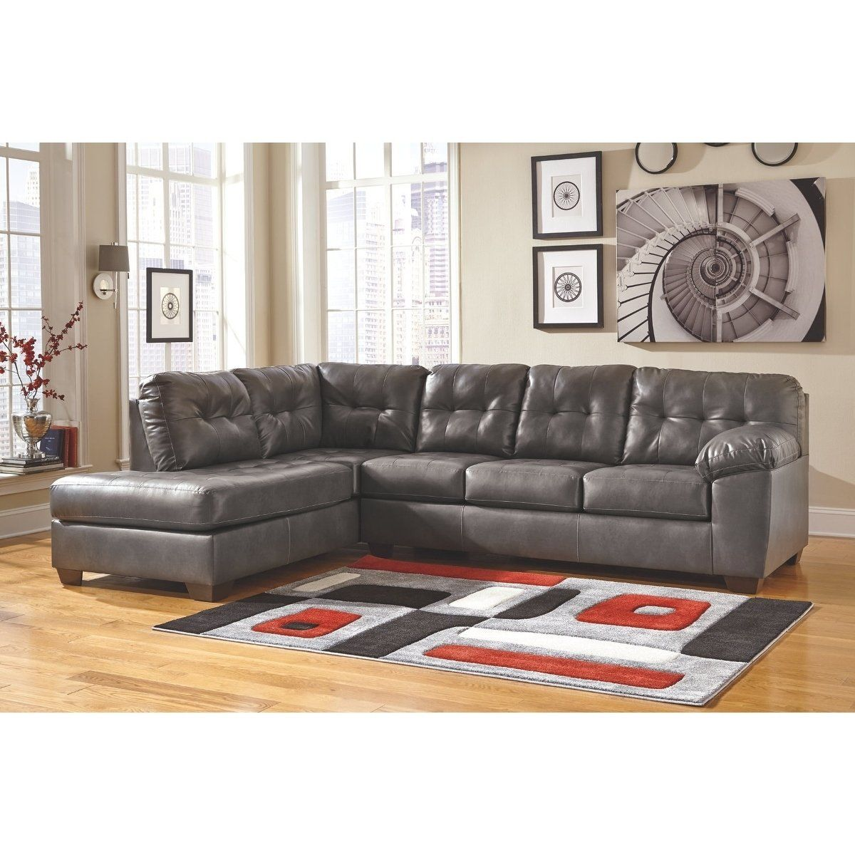 Brilliant Alliston Grey Faux Leather 2 Piece Sectional Sofa Polyester Gmtry Best Dining Table And Chair Ideas Images Gmtryco