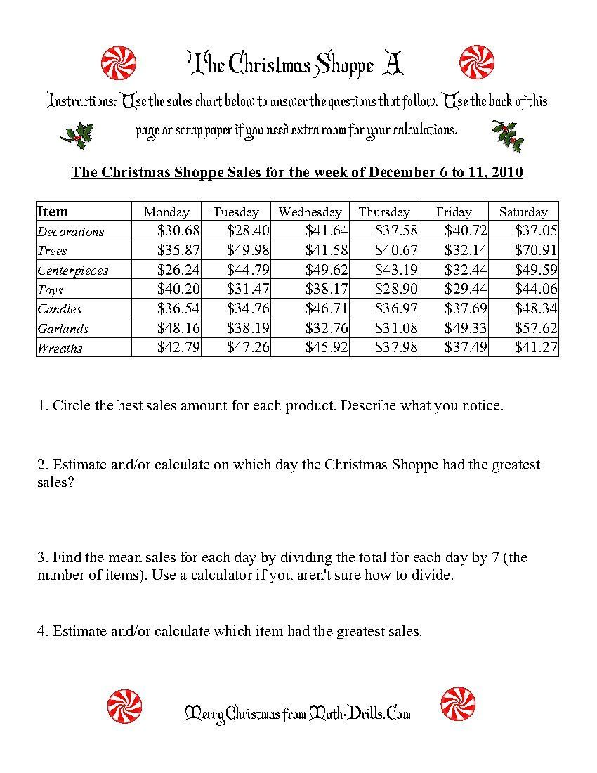 The Christmas Shoppe Worksheets That Require Adding And Dividing Decimal Numbers Finding The Me Christmas Math Christmas Worksheets Christmas Math Worksheets Di 2021 [ 1100 x 850 Pixel ]