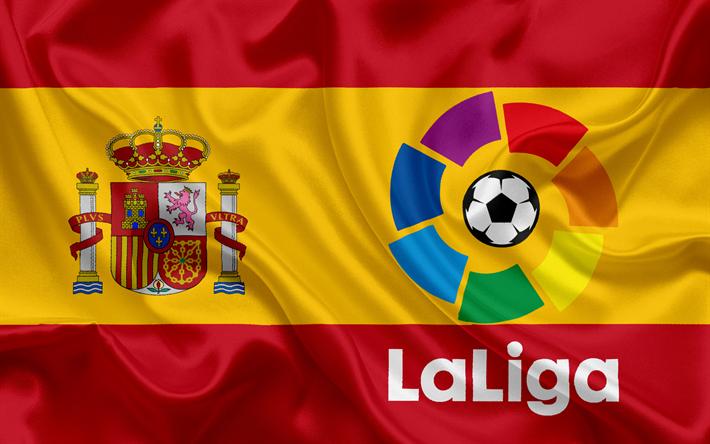 Download Wallpapers La Liga Emblem Logo Spain Flag Of Spain Soccer Championship Besthqwallpapers Com Drapeau Espagne Drapeau Embleme