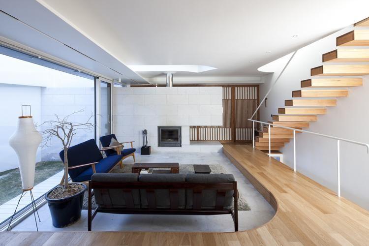 modern living room surroundedlow wooden platforms