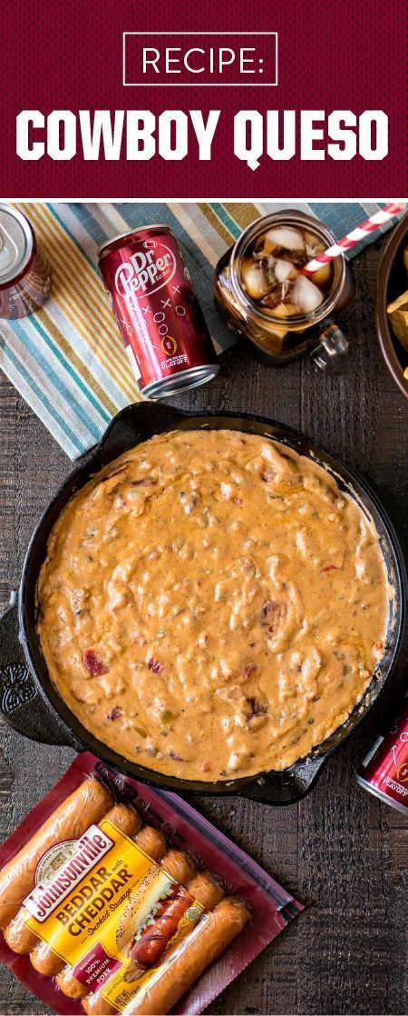 Football homegating season wouldn't be complete without comfort food. So before kick-off starts, whip up this recipe for Cowboy Queso to round out your game day menu. Made with Johnsonville Beddar with Cheddar Smoked Sausages, Original Johnsonville Brats, and plenty of creamy ingredients, your guests are sure to agree that this savory dip is best paired with Dr Pepper. Grab everything you need for this shareable snack—and all your other fall tailgating essentials—at your local Publix. #footballfood