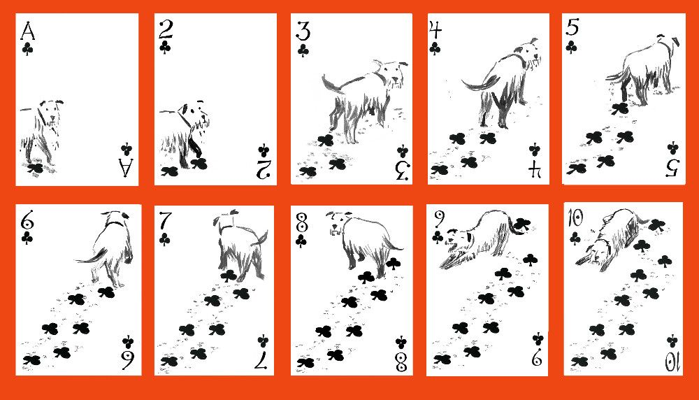 Transformed by an artist's imagination, these ordinary playing cards are a small box of treasure.  Here are dogs as we imagine them to be:  coy, heroic, aloof,