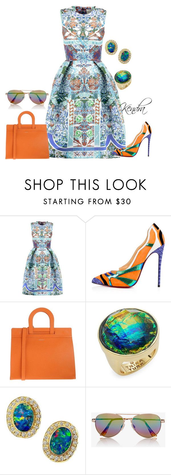 """""""Never Looking Back"""" by kmariestyles ❤ liked on Polyvore featuring Mary Katrantzou, Christian Louboutin, Avenue 67, Trina Turk and Express"""