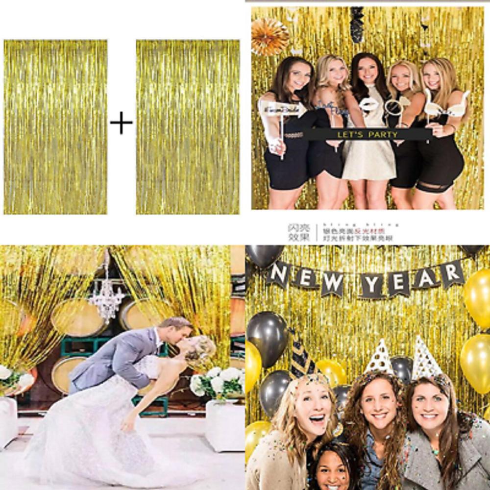 2pc Gold Fringe Backdrop Metallic Foil Curtains Background For