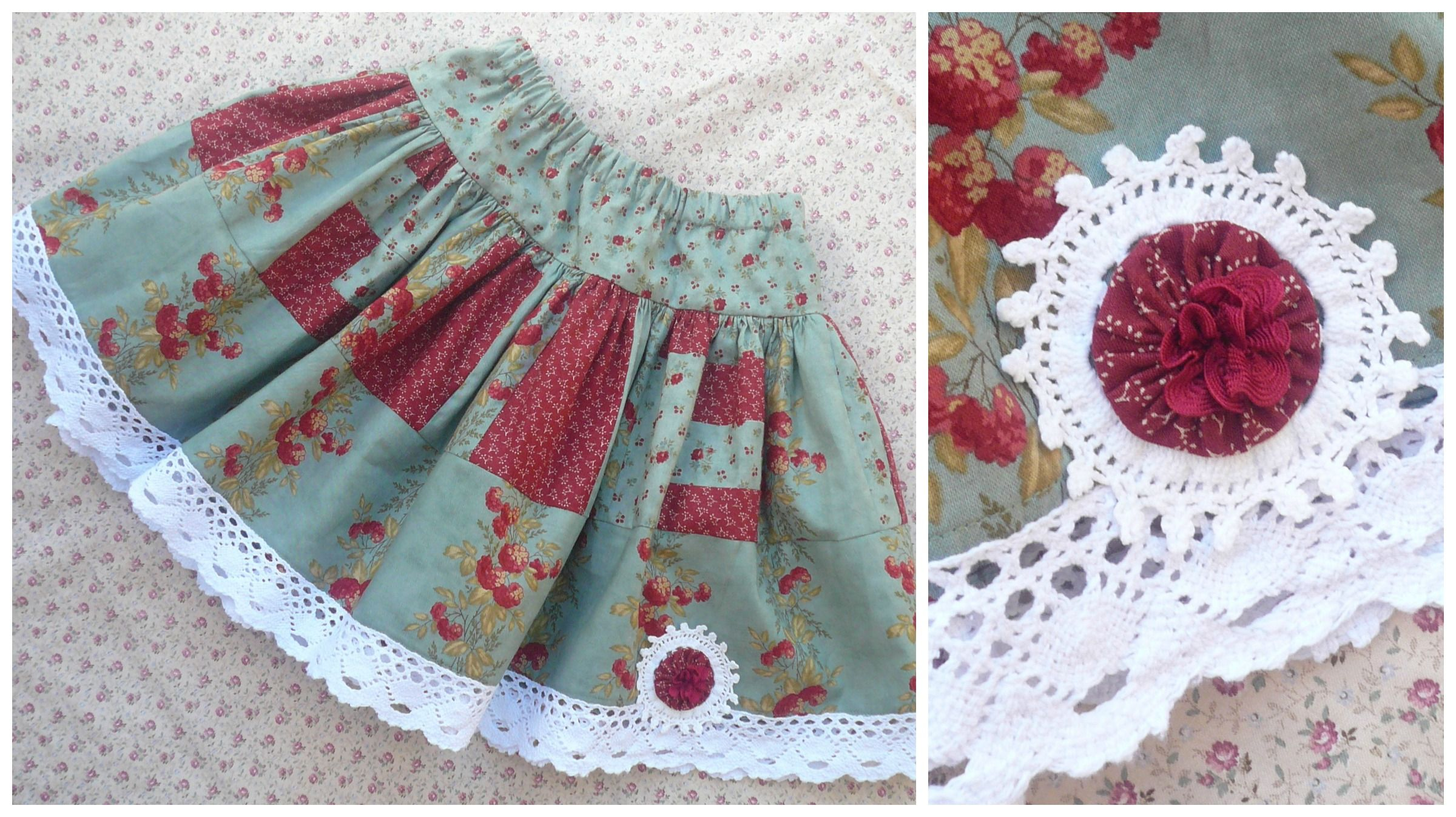 sew together left over fabric pieces to make a twirly skirt a variation of the @Lynn Helms Designs pattern.