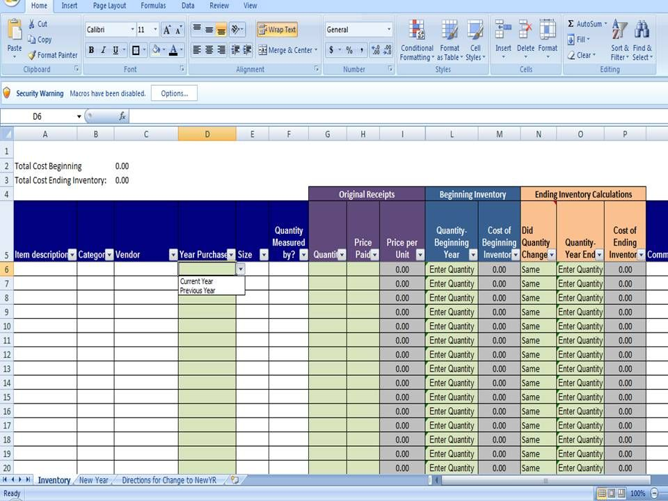Annual inventory template beginning and ending year for Excel shipping tracking template