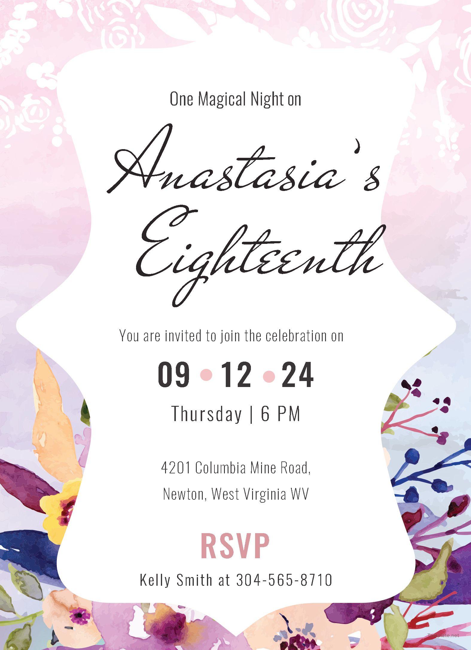 pastel debut invitation card template
