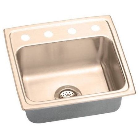 Elkay LRAD191955OS4-CU Lustertone CuVerro Antimicrobial Copper Single Bowl Top Mount Sink with 4 Faucet Holes, Multi