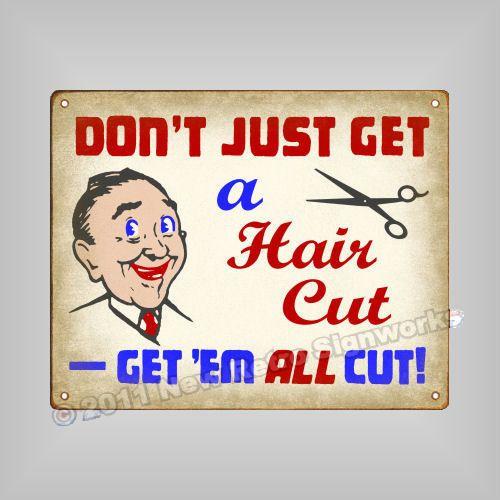 hair cut joke sign funny vintage stylist barber shop humor