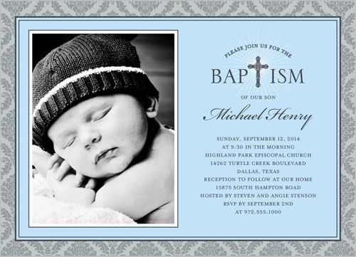 Baptism Invitations: Radiant Cross Boy, Rounded Corners, Blue ...