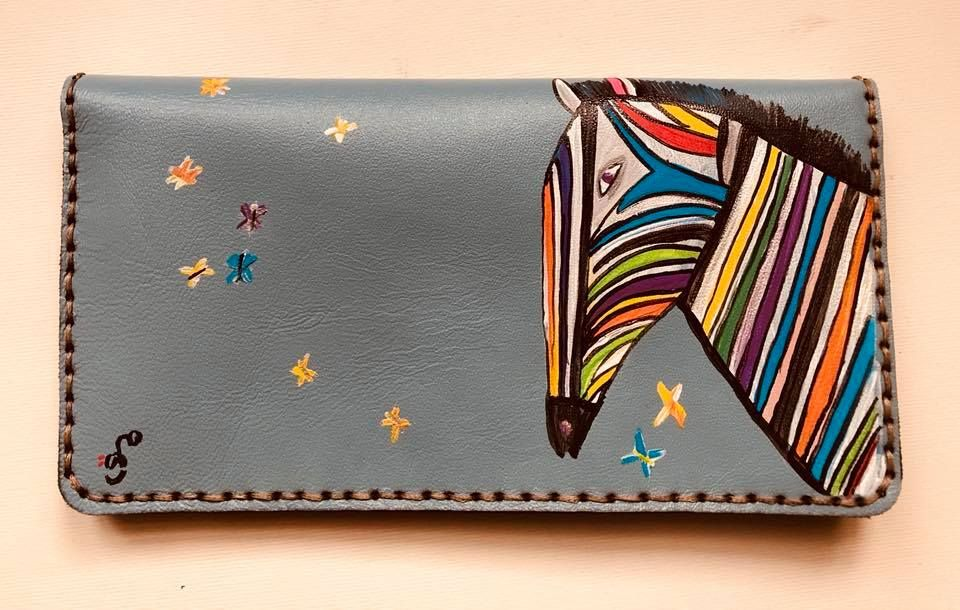 Handpainted leather wallet