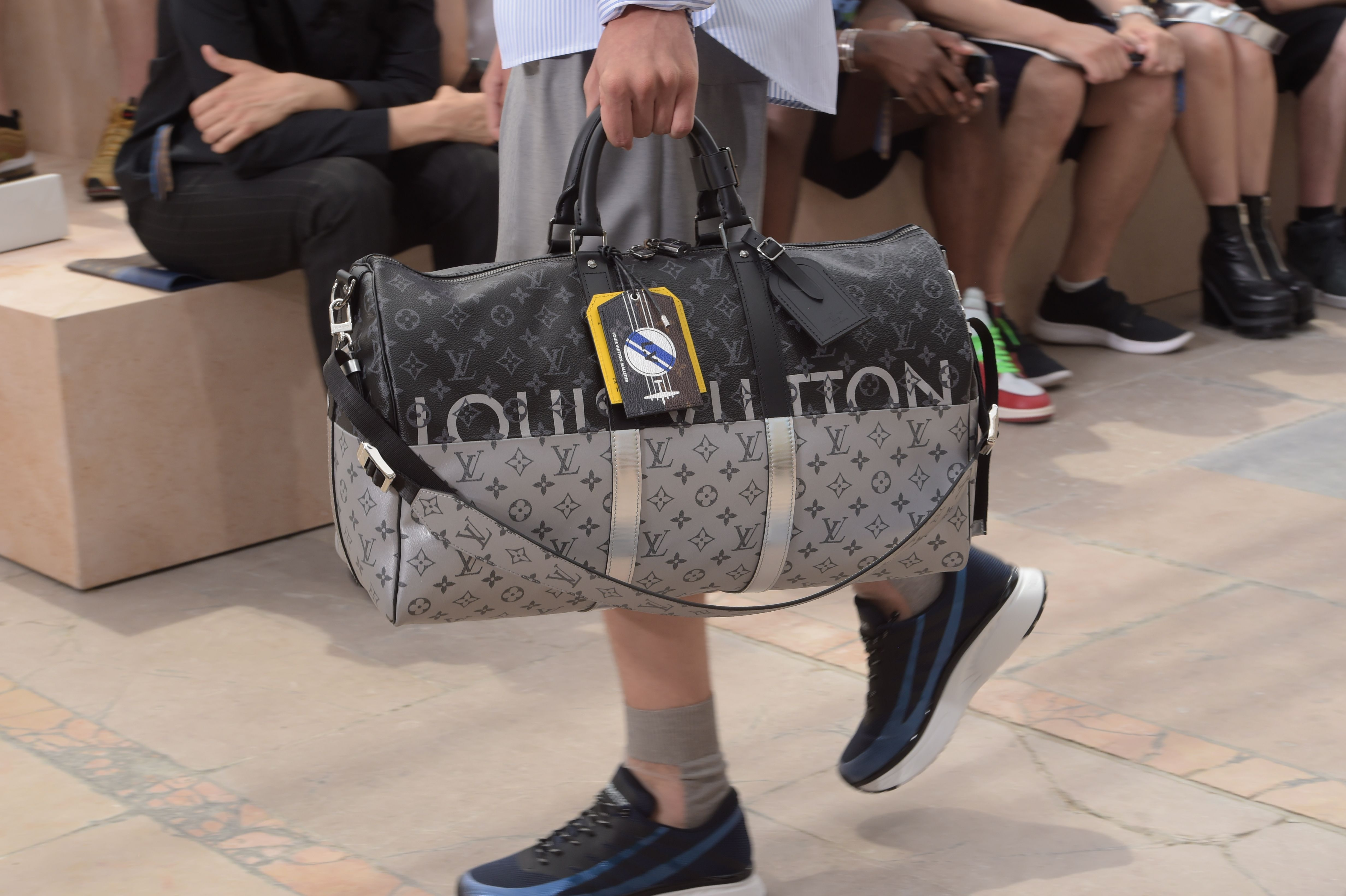 d7fe4b102599 Closer look at the Monogram Eclipse Split Keepall from the Louis Vuitton  Spring-Summer 2018 Fashion Show by Men s Artistic Director Kim Jones,  presented in ...