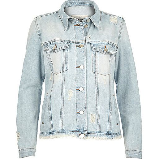 Light blue wash raw hem denim jacket