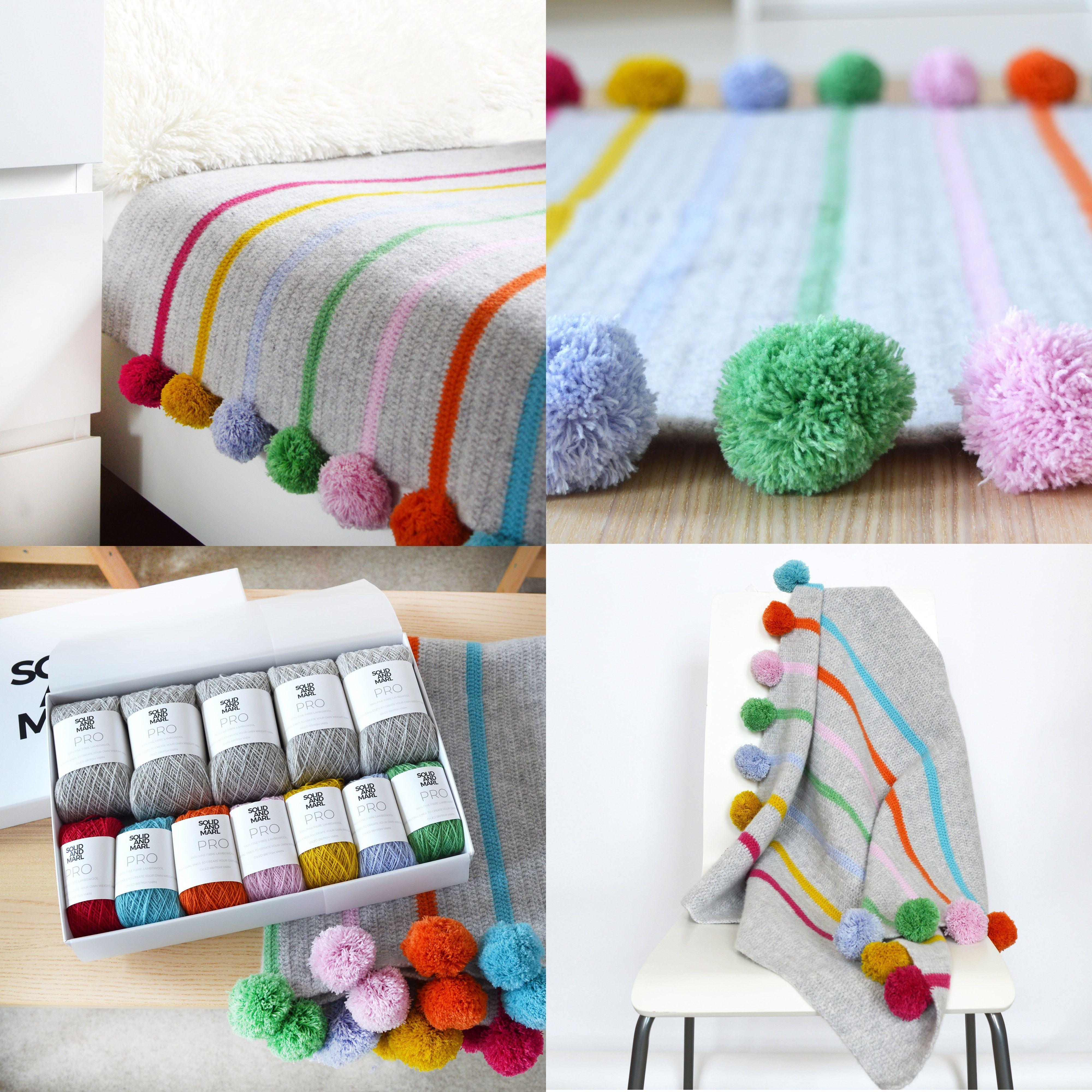 Pom Pom And Stripe Crochet Blanket Kit Solid And Marl Crochet Blanket Kit Crochet Kit Striped Crochet Blanket