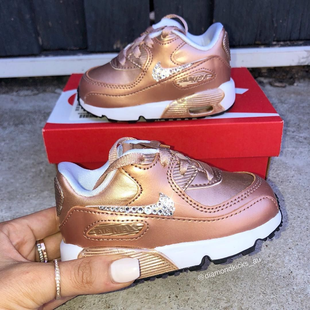 0d626a110422c Baby Rose Gold Nike Air Max 90s 😍 Pictured is a size 5C and they start  from as little as 2C - teeny tiny 😍😍😍