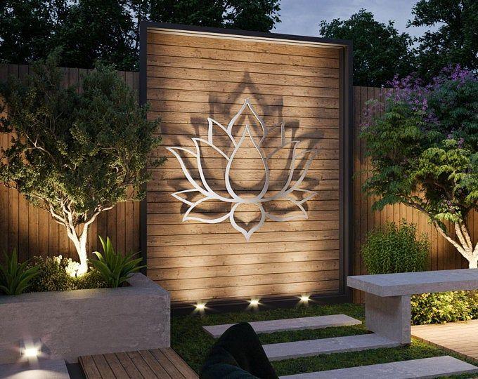Xl Lotus Flower Metal Wall Art Contemporary Sculpture Extra