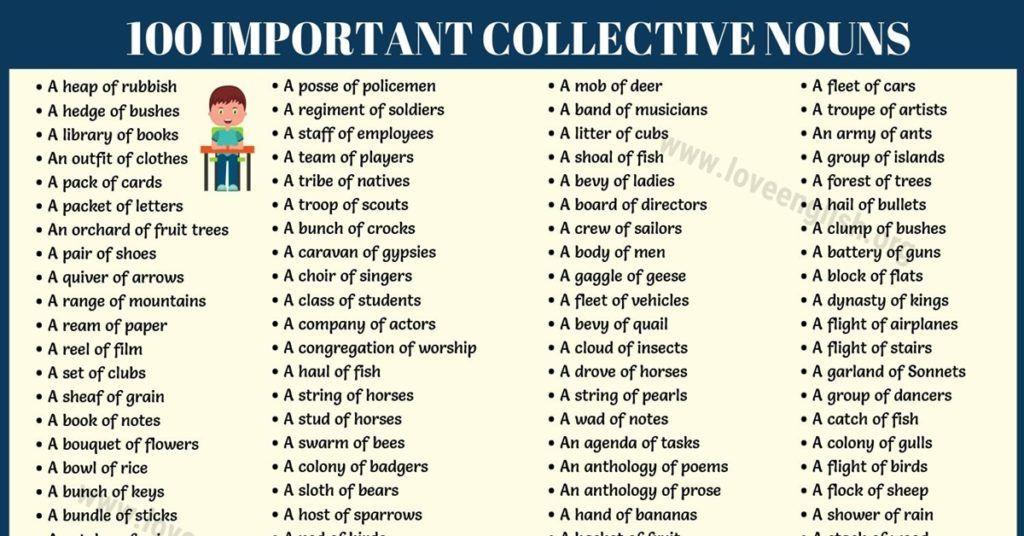 Collective Nouns List 100 Most Important Collective Nouns In English In 2020 Collective Nouns Nouns English Love