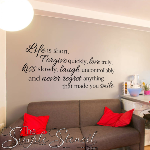 Life Is Short Wall Quote Inspirational Wall Quotes Wall Quotes Decals Vinyl Wall Quotes #wall #words #for #living #room