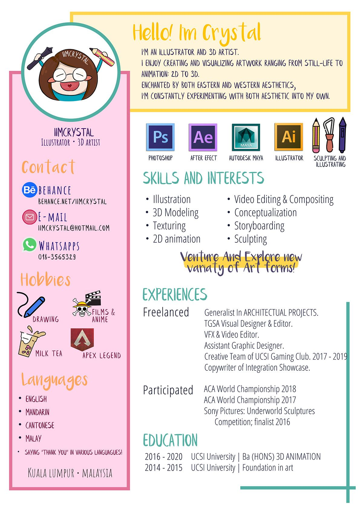 Creative Resume Cv And Personal Presentation Illustrator And 3d Artist Infographic Resume Resume Design Creative Infographic Resume Graphic Design Resume