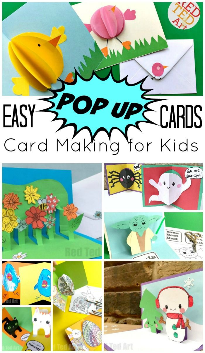Easy Pop Up Card How To Projects Red Ted Art Make Crafting With Kids Easy Fun Diy Pop Up Cards Diy Pop Up Cards Templates Pop Up Cards