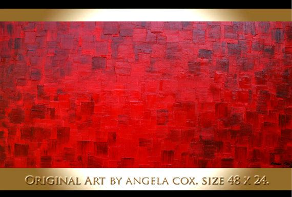 Original  Red  Abstract  Art  Heavy Impasto  by angelacoxart, $165.00