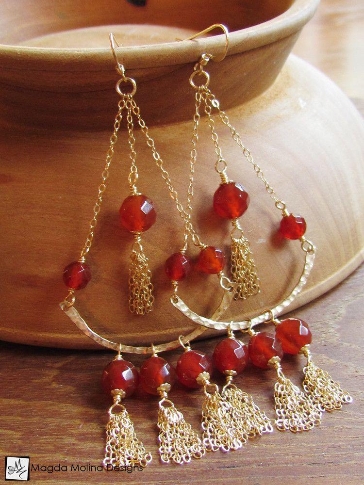 The stunning gold and carnelian chandelier tassel earrings tassel bead earrings aloadofball Images