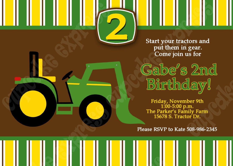 Another John Deere Birthday Invitation from Etsy... | cumple Atilio ...