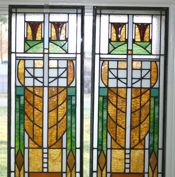 Pair Arts And Crafts Prairie Style Leaded Stained Gl Windows