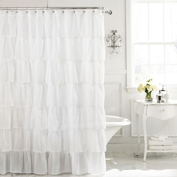 Extra Long 84 Ruffled Shower Curtains Ruffle Shower Curtains Cream Shower Curtains Shabby Chic Shower Curtain