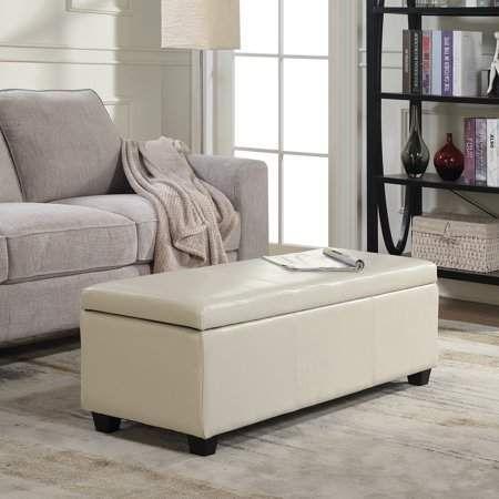 Phenomenal Belleze Modern Elegant Ottoman Storage Bench Wooden Legs 48 Machost Co Dining Chair Design Ideas Machostcouk