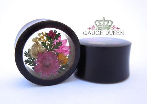 "Horn Pink Flower Arrangement Plugs - 0g (8mm) through 1"" (25mm) – Gauge Queen  Hand carved and polished organic horn double flare tunnels with an arrangement of real dried flowers set in resin and mirrored for the perfect pair. 1"" (25mm), 1/2"" (12.5mm) and 0g (8mm) pictured."