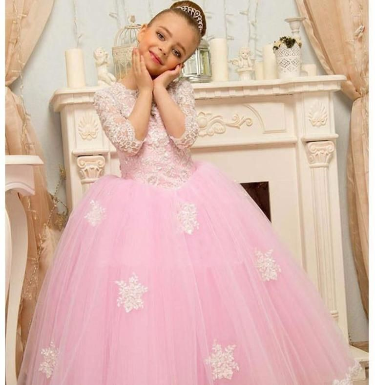 3//4 Sleeves Princess Flower Girl Party Prom Ball Wedding Birthday Pageant Dress