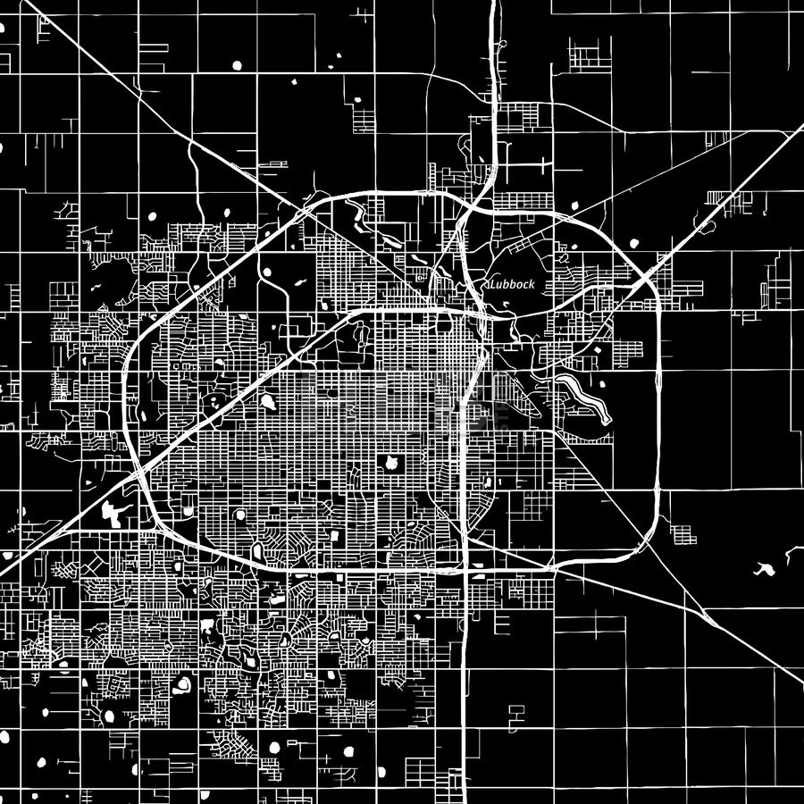 Lubbock Texas Downtown vector map